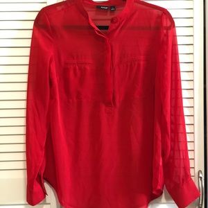 Red sheer button up blouse